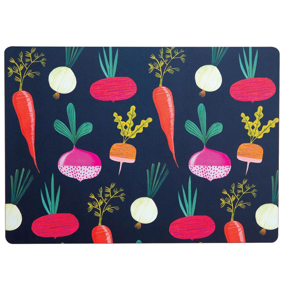 Root Veggies Blue Art Placemats - Set Of Four