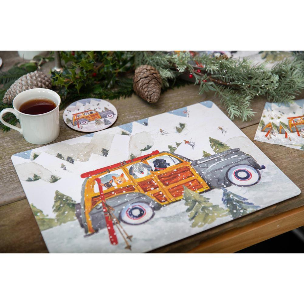 Ski Day Neutral Art Placemats - Set Of Four - 8/25