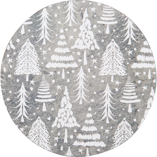 Silver Firs Round Art Coasters - Set of Four - rockflowerpaper LLC