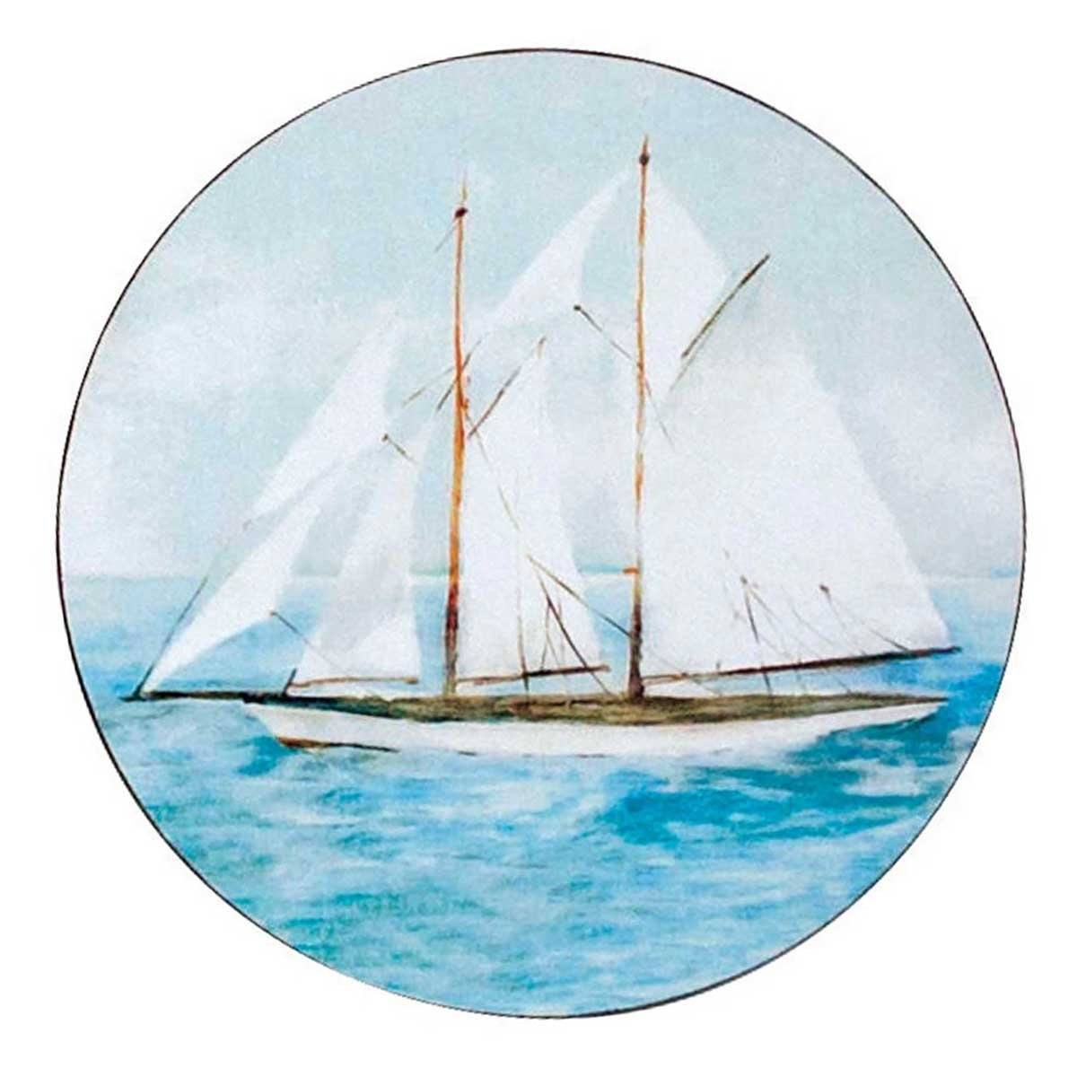 Summer Sail Round Art Coasters - Set of Four