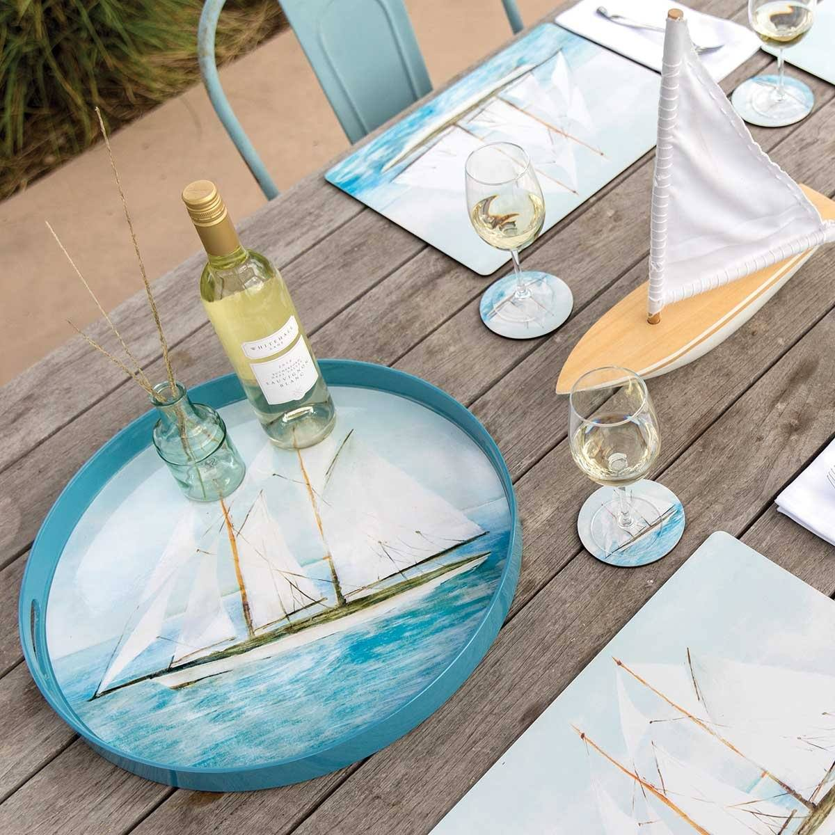 Summer Sail Round Art Coasters - Set of Four - rockflowerpaper LLC