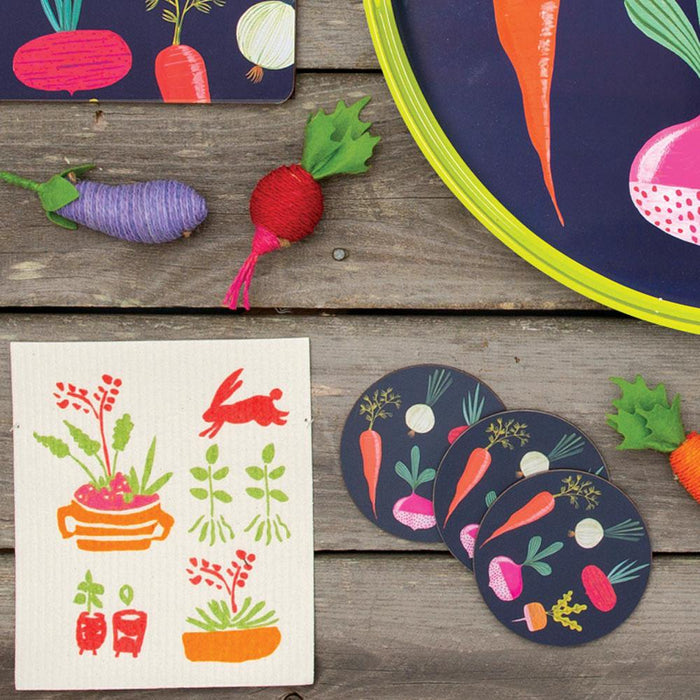 Root Veggies Blue Round Art Coasters - Set Of Four - rockflowerpaper LLC