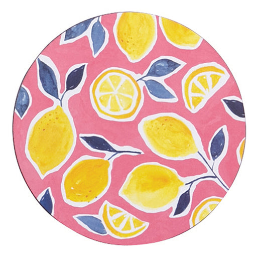 Lemons Round Art Coasters - Set of 4 - rockflowerpaper LLC