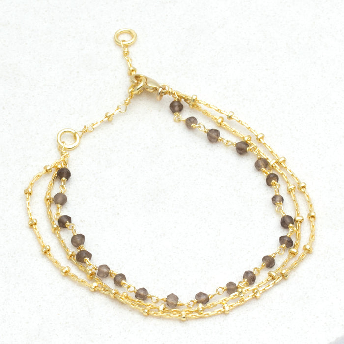 Lite Triple Layer Smoky Bead Bracelet Stack - Gold Plate