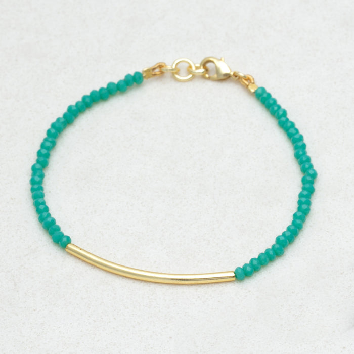 Oceanic Chalcedony Bead & Bar Bracelet - Gold Plated