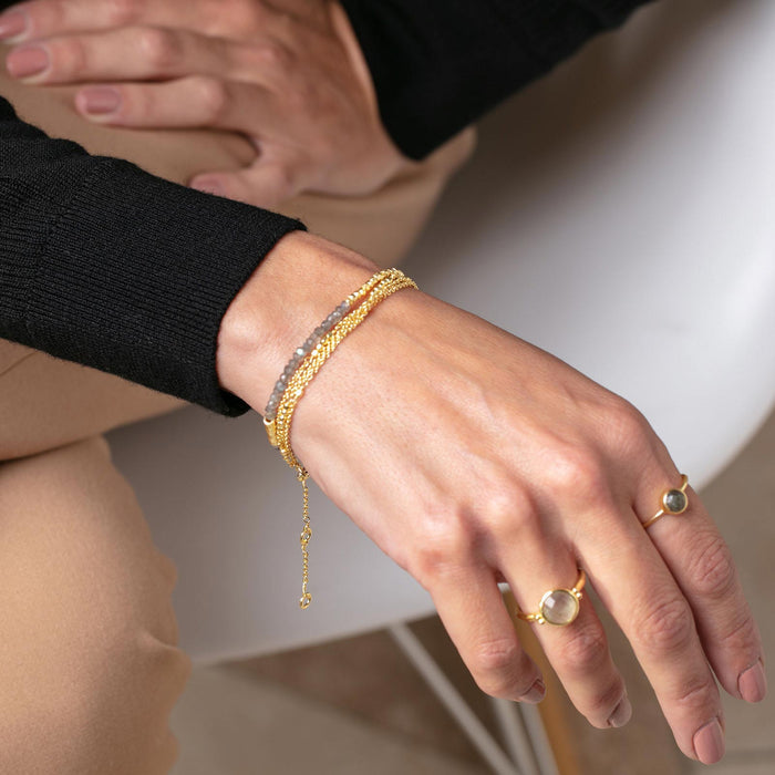 Triple Layer Gold Bead Bracelet Stack - Gold Plated, 7.5""