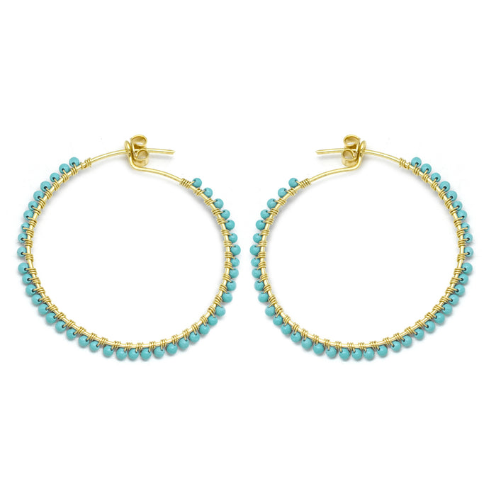 Hoop Earrings With Turquioise Beads Gold Plated