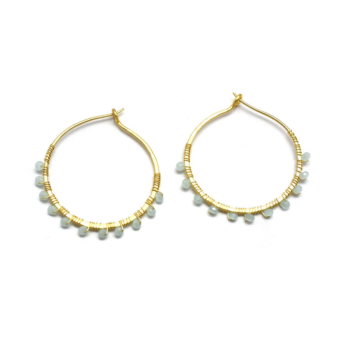 Aqua Chalcedony Hoop Earrings Gold Plated