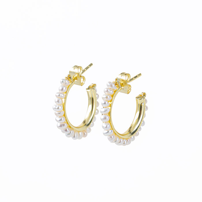 Cultured Freshwater White Pearl C-Hoop Earrings Gold Plated