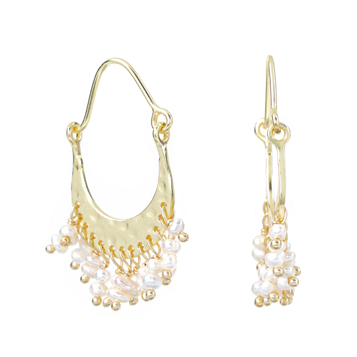 Cultured Freshwater Pearl Fringe Gold Plated Oval Hoop Earrings