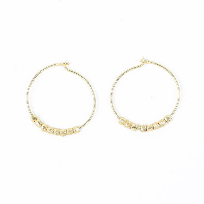 Hoop Earring with Hand Cut Faceted Metal Beads Gold plated
