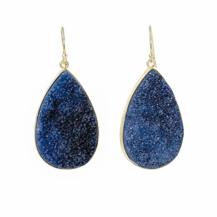 Navy Iolite Druzy Pear Dangle Earrings Gold Plated