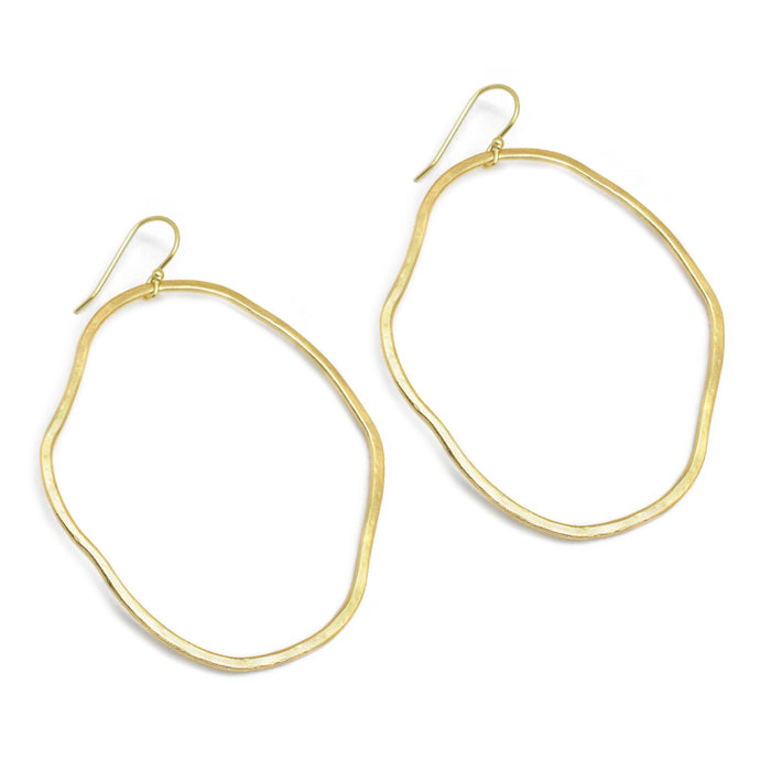 Hammered Free-Form Circle Hoop Earrings Gold Plated