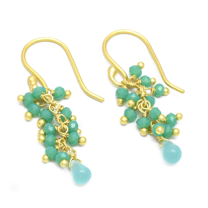 Ocean Blue Chalcedony Bead Dangle Fringe Earrings Gold Plated