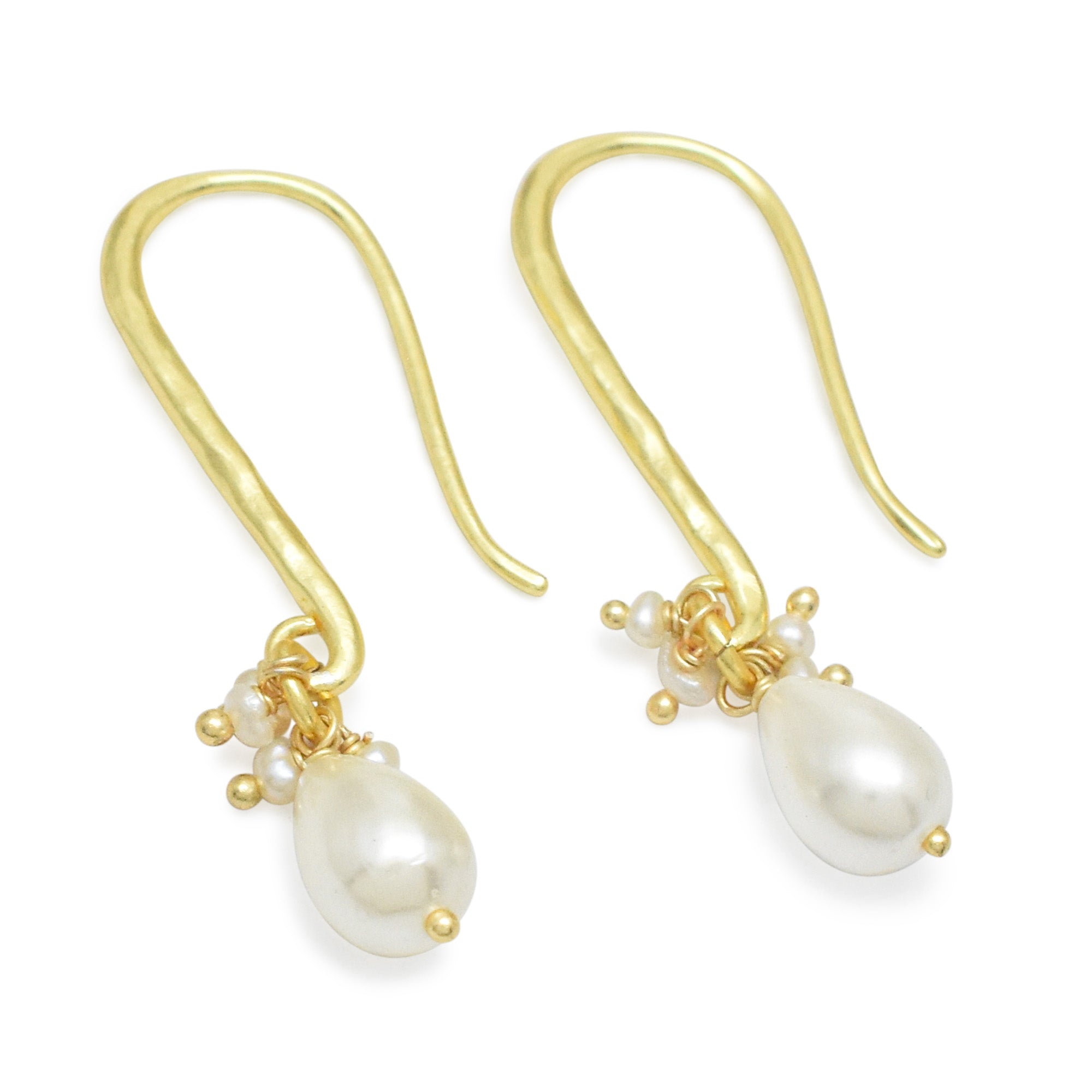 Freshwater Cultured Pearl Drop Earrings Gold Plated
