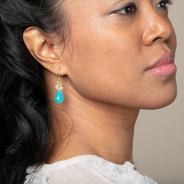 Aqua Chalcedony Briolette Rainbow Bead Dangle Earrings Gold Plated