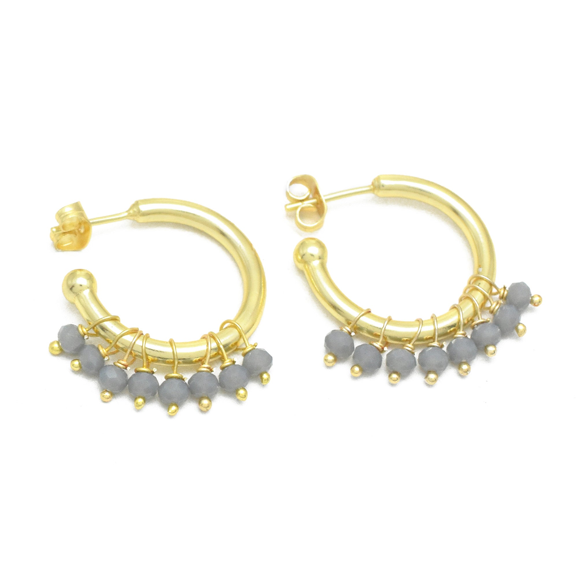 Grey Chalcedony Fringe Door Knocker C-Hoop Earrings Gold Plated