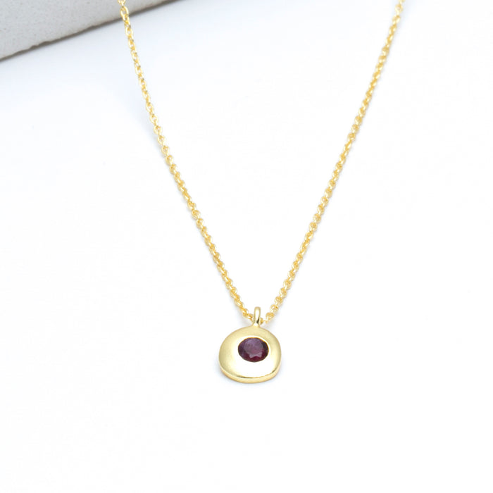 "Cherry Ruby Medallion Pendant Necklace, 16""+2"" Extender - Gold Plated"