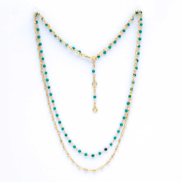 "Seet Turquoise Faceted Bead Double Layer Necklace, 18""+2"" Extender - Gold Plated"