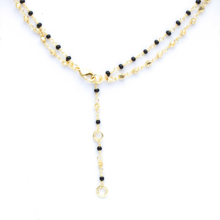 "Onyx Labradorite Bead Double Layer Necklace, 18""+2"" Extender - Gold Plated"