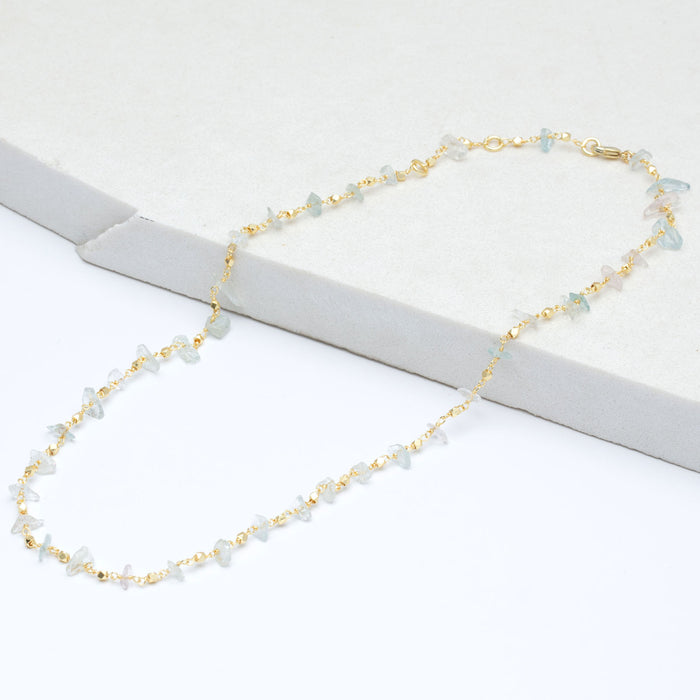 "Rough Uncut Aqua Faceted Metal Bead Layer Necklace, 18""+2"" Extender - Gold Plated"
