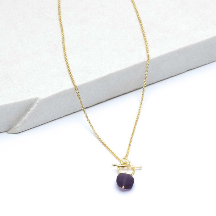 "Amethyst Chalcedony Pendant Drop Necklace, 18"" - Gold Plated"