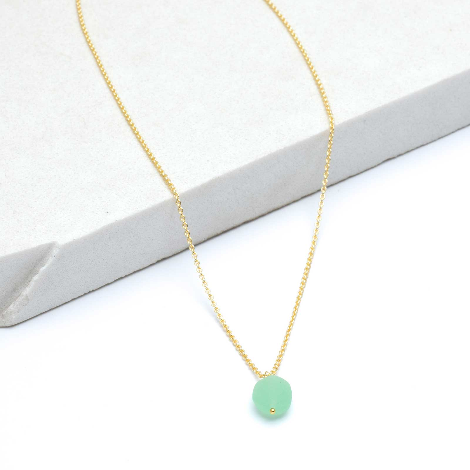 "Rough Green Chalcedony Pendant Bead Layer Necklace, 18""+2"" - Gold Plated"