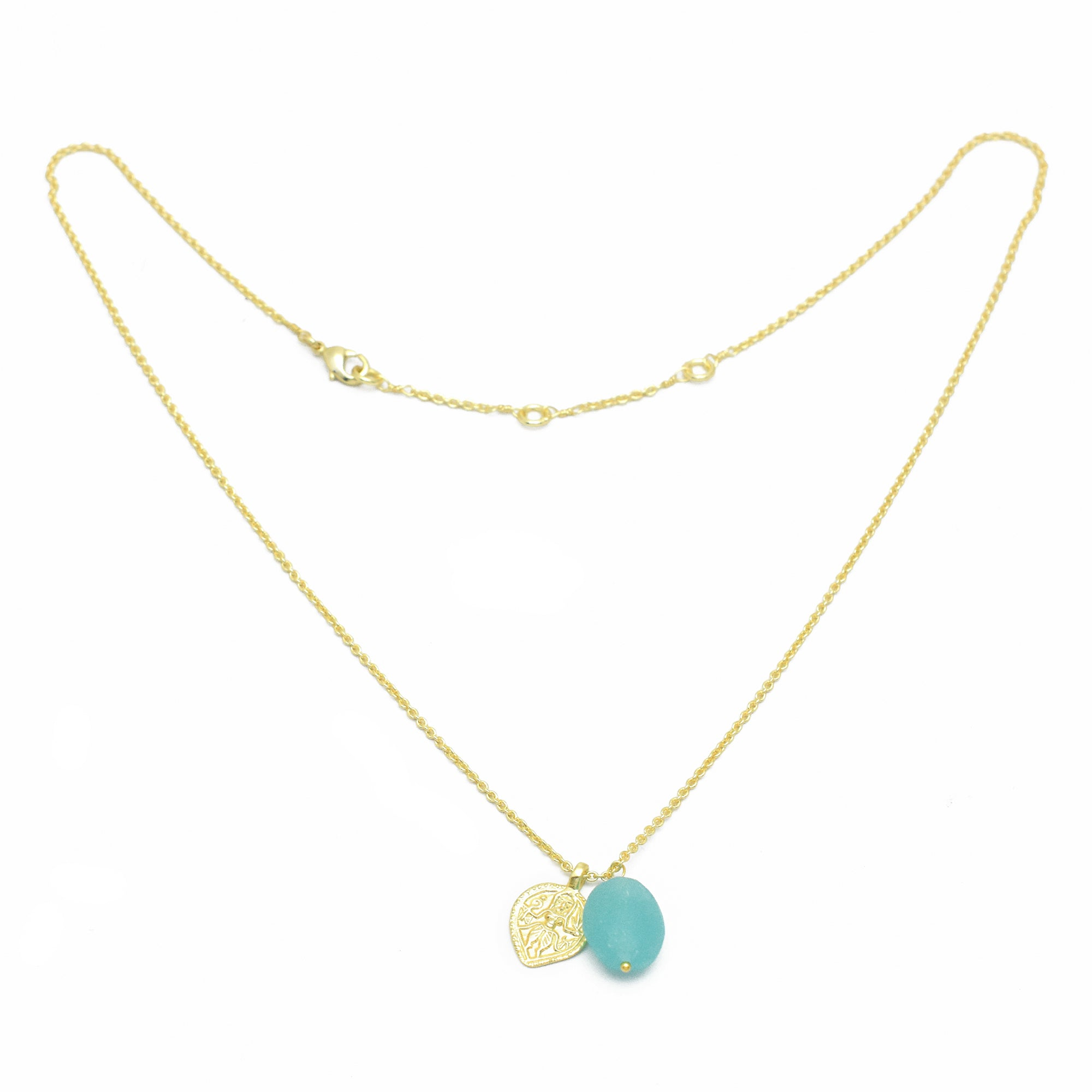 "Aqua Chalcedony Durga Charm Double Pendant Necklace, 18""+2"" - Gold Plated"