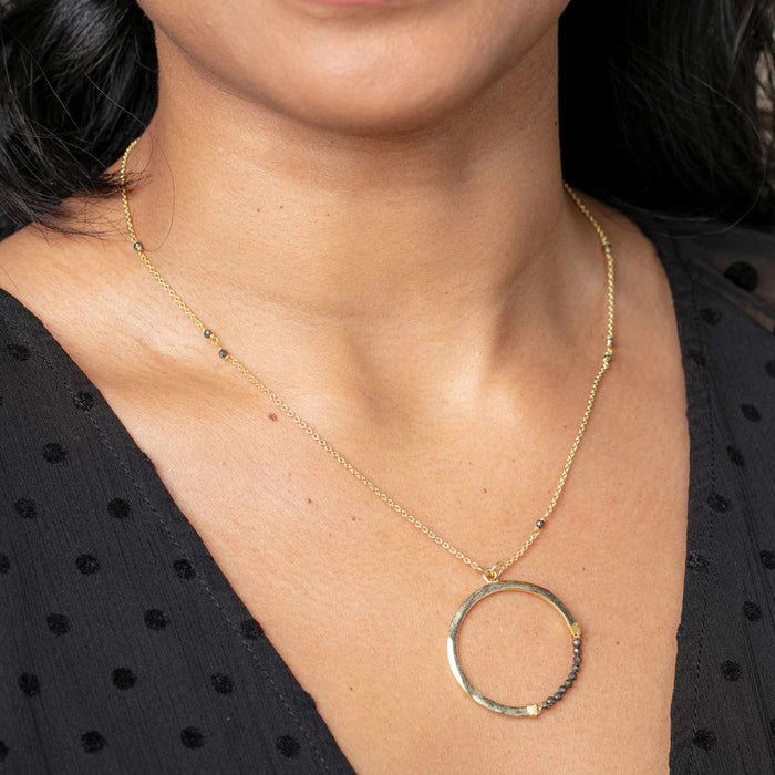"Pyrite Bead Eternity Circle Pendant Necklace, 18"" - Gold Plated"