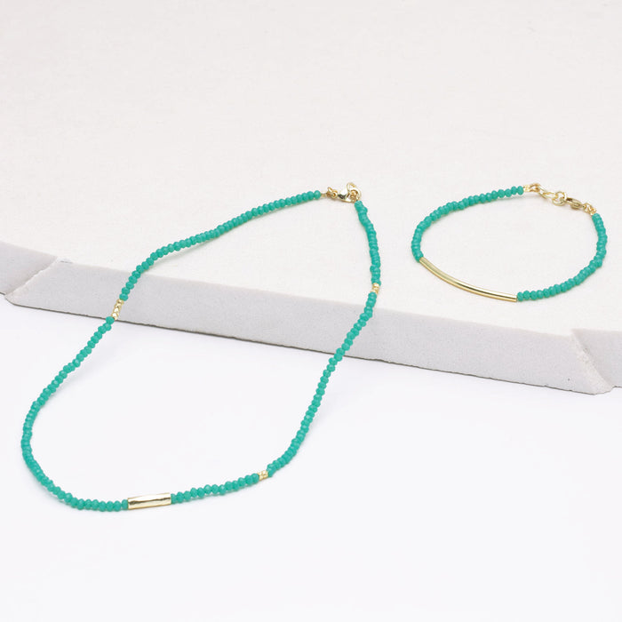 "Ocean Chalcedony Hand Cut Faceted Bead Necklace, 16"" - Gold Plated"