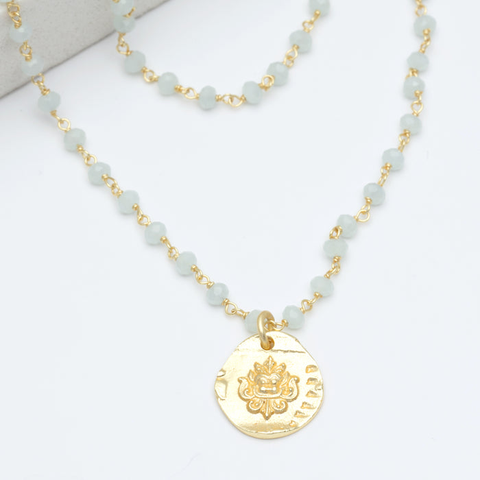 "Aqua Chalcedony Bead Medallion Charm Pendant Necklace, 16""+2"" - Gold Plated"