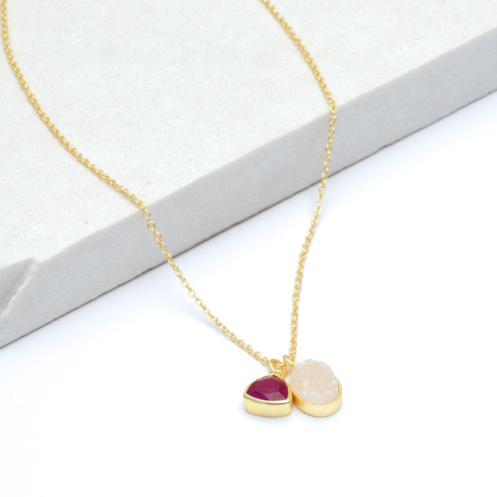 "White Druzy & Cherry Ruby Double Pendant Necklace, 18"" - Gold Plated"