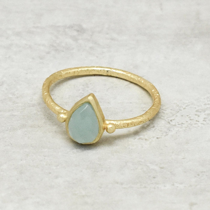 Aqua Chalcedony Pear Solitaire Ring Gold Plated