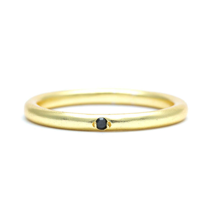 Tiny Black Onyx Stackable Band Gold Plated