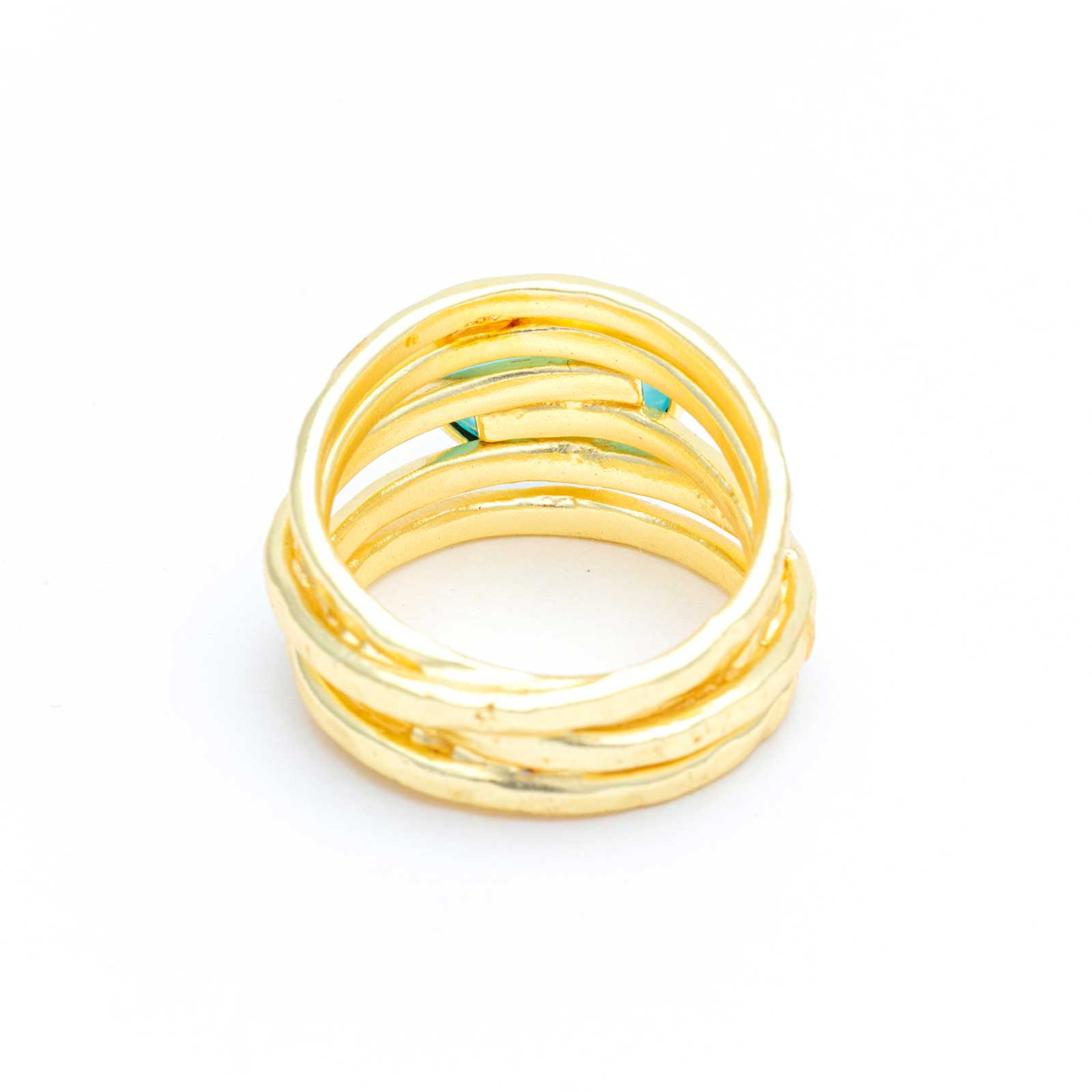 Aqua Chalcedony Multi-Band Ring Gold Plated