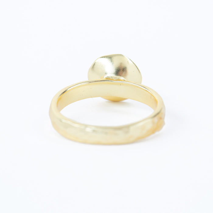 Cultured Freshwater Pearl Solitaire Ring Gold Plated