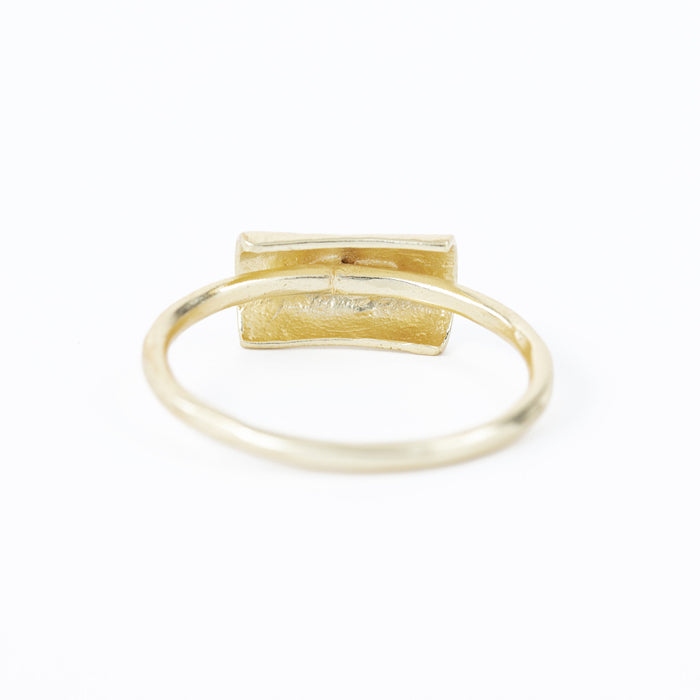Hammered Bar Stackable Band Gold Plated