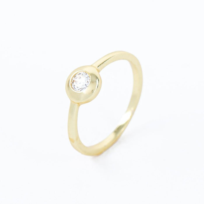 White Zirconia Solitaire Stackable Ring Gold Plated