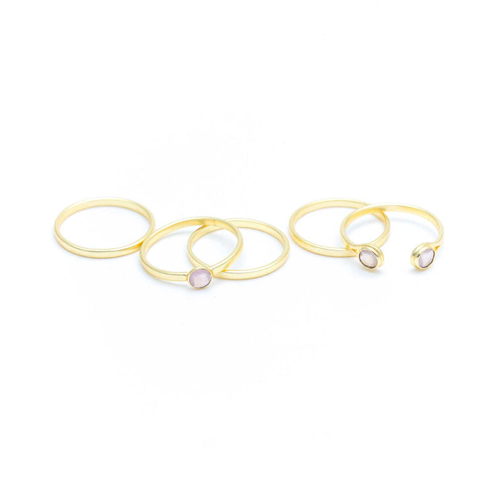 Set of 5 Rose Quartz Stackable Rings Gold Plated