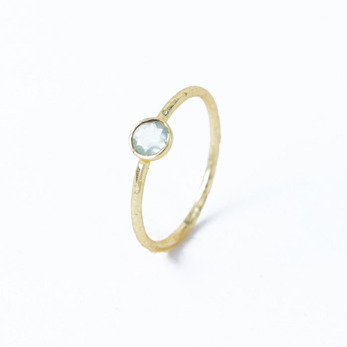Petite Green Chalcedony Solitaire Stackable Ring Gold Plated