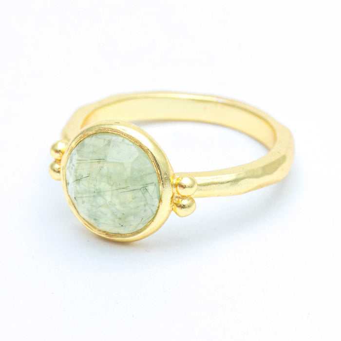 Prehnite Solitaire Bezel Ring Gold Plated