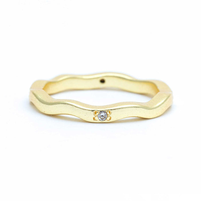 White Zirconia Solitaire Wavy Stackable Band Gold Plated