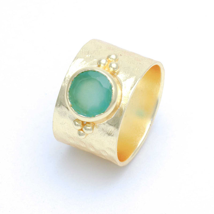 Aqua Chalcedony Wide Band Gold Plated