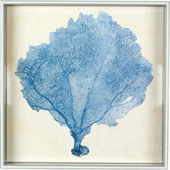 Blue Sea Fan 15 inch Square Lacquer Art Serving Tray - rockflowerpaper LLC