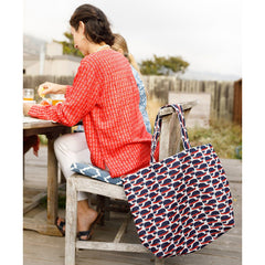 Cape Cod Whale Jute Carryall Tote Bag