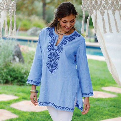 Ios Chambray/Navy Kurta Tunic