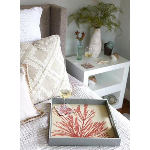 Coral Seaweed 15 inch Square Lacquer Art Serving Tray