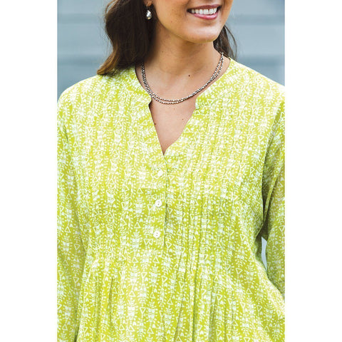 Syros Lime Cotton Pintuck Tunic - rockflowerpaper LLC