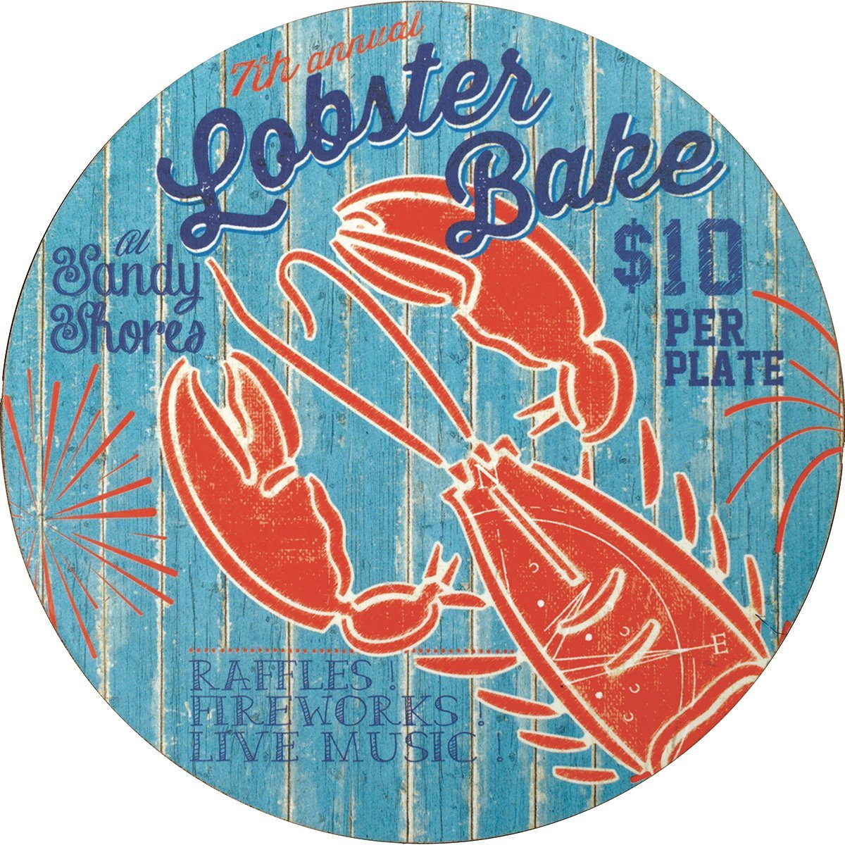 Lobster Bake Round Art Coasters - Set of Four - rockflowerpaper LLC
