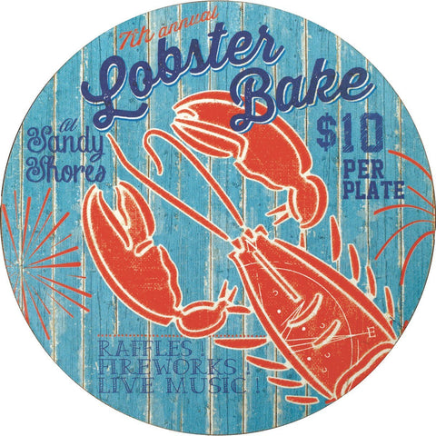 Lobster Bake Round Art Coasters - Set of Four